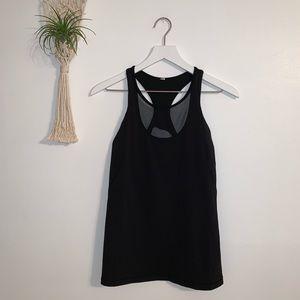 Lululemon Black Tank Top Shelf Bra Stripe Mesh 8